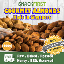 USA Raw Almonds 200g- Roasted/Baked/Honey/BBQ - Gourmet nuts made in Singapore
