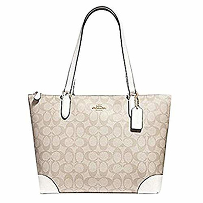 03acc0bf COACH ZIP TOP TOTE IN SIGNATURE CANVAS, F29208, LIGHT KHAKI CHALK
