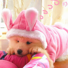 New Dog Clothes Costume Warm Winter Fleece Hoodie Pet Dog Rabbit Ear Coats Jacket Outwear Free shipping