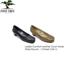 [FootTree] Ladies Comfort Leather Court Shoes-Wide Round 1.5 Inch High [SKU 155-1]