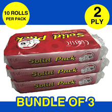 Bundle of 3 x 10 Rolls! Classic 2-Ply Bathroom Tissues! 100% Pure White!