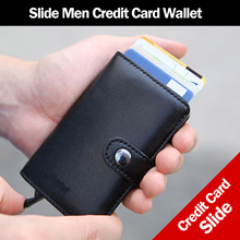 Men Wallet Premium Leather Slide Men Slide Credit Card Hoder Case Wallet Multi-purpose