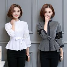 blouse shirt flounced hem ruffles puff sleeve female hollow-carved sleeves