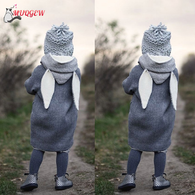 f5d356592 Qoo10 - Cute Rabbit Ear Hooded Baby Coat Infant Autumn Winter Jacket ...