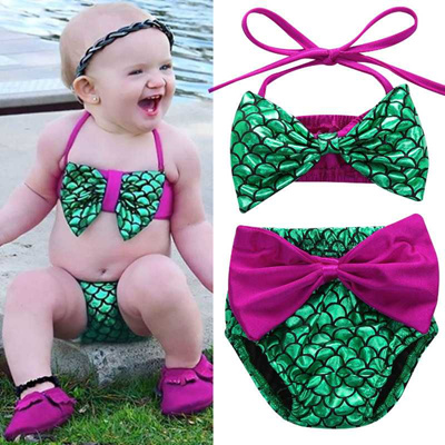 a0385baed33f5 Toddler Kids Baby Girls Mermaid Swimwear Bikini Set Infant Baby Swimsuit  Bathing Suit 2019 Summer B