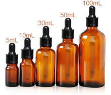 Essential oil Amber Glass Empty Bottle with Dropper Cap 5ml/10ml/15ml/20ml/30ml/50ml/100ml Roll on