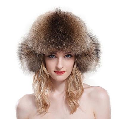 283aede73da URSFUR Fox Fur Russian Ushanka Hat Women s Fur Hat With Earflaps   Pom-poms
