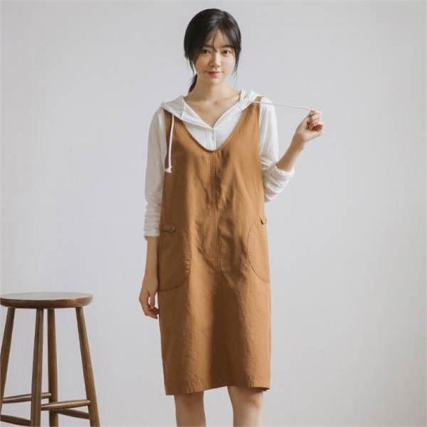 ジャストウォンヤンポケッVコットン・ワンピースnew 無地ワンピース/ワンピース/韓国ファッション