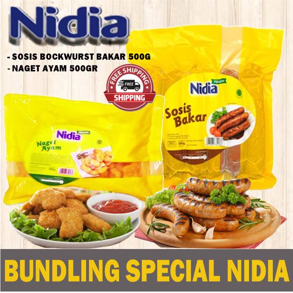 **BUNDLING SPECIAL** NIDIA SOSIS BOCKWURST BAKAR 500G+NIDIA NAGET AYAM 500GR*FREE SHIPP JABODETABEK* Deals for only Rp35.000 instead of Rp35.000