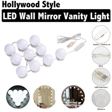 Hollywood Makeup Mirror Vanity LED Light Bulbs Adjustable Dressing Mirror Lights USB Powered