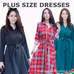 Plus Size Dresses Shirt Dress midi dress long sleeve