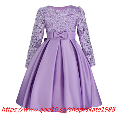Autumn Winter Lace High Grade Dress For Baby Girl Gown Birthday Outfits Children Wedding Dresses Gi