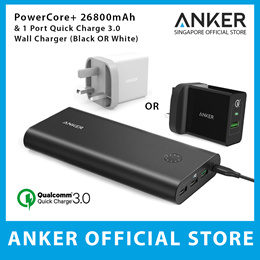 Anker Powercore+ 26800mah and Quick Charge 3.0 USB Wall Charger PowerBank High Capacity 3 USB Output