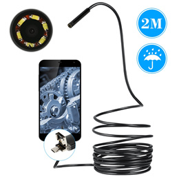 6 LED Waterproof 2 in 1 Android and PC USB Endoscope Borescope CCTV Inspection Wire Camera 2 M