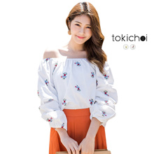 TOKICHOI - Floral Embroidered Off-Shoulder Top-180356