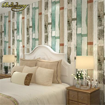 beibehang wood panel stripes vintage wallpaper roll effect feature bedroom  wallpaper for wall 3d wal