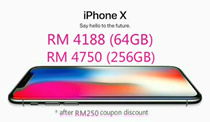 RM 4188 for Iphone X (64GB) / RM 4750 for Iphone X (256GB) ( RM 250 coupon discount )[Ready stock / Sealed] Apple iPhone X 64GB 256GB LTE (Space Gray/Silver) - 1 Year Seller Warranty