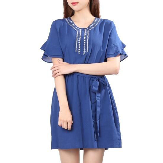 オンエンオンインディーズ自首フレアワンピースNW7AZ009ベルト 面ワンピース/ 韓国ファッション