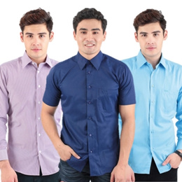 【READY STOCK】Men Formal Shirt/Men Business Top Shirt Short Sleeved Long Sleeved Slim Fit Regular Fit Casual Blouse Plus Size