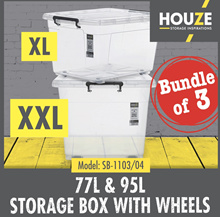 Bundle of  3 XL/XXL Storage Boxes With Wheels  77L  - 95L Capacity  Strong And Durable