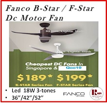 $189 [REGIS] FANCO DC Ceiling Fan B-Star / F-Star Led 18W 36 /46 /52 inches
