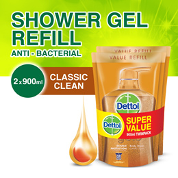 Dettol Gold Classic Clean Body Wash - Refill Twin Pack 900ML x 2