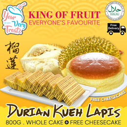 [New Flavour] DURIAN Kueh Lapis! 1 Whole Cake with FREE CHEESECAKE and FREE DELIVERY