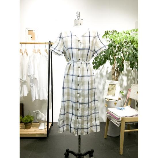 スタジオホワイトパープルチェックロングワンピースMC721S792 面ワンピース/ 韓国ファッション