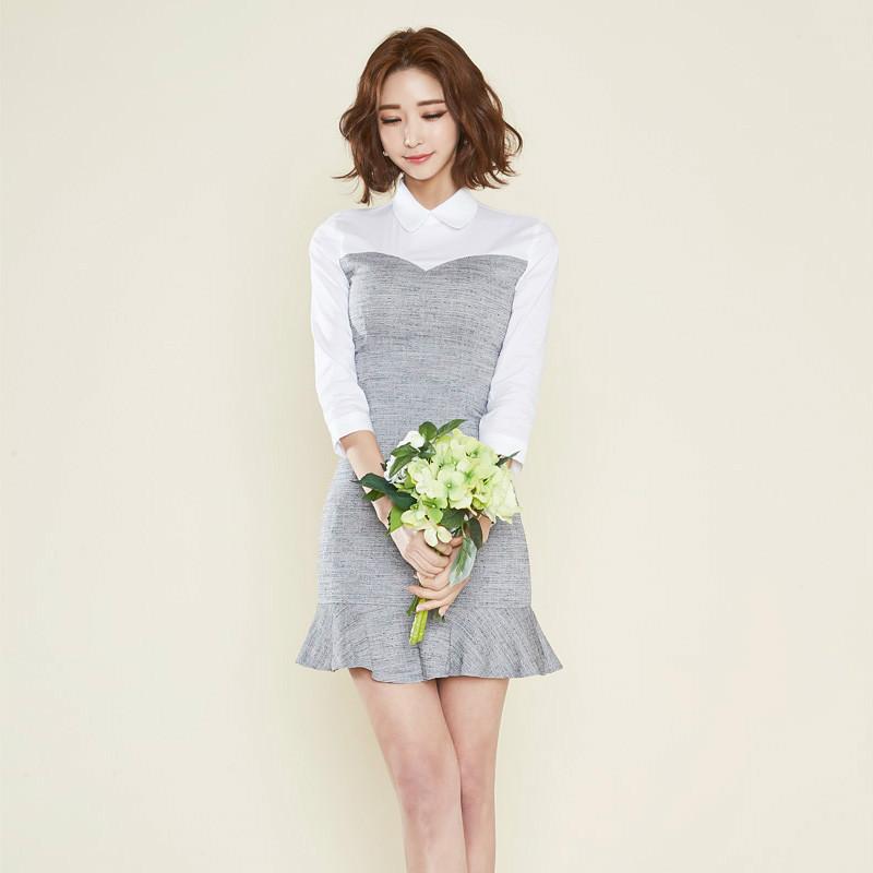 2017早秋  韓国ファッション  レディース  ワンピース 流行 体型 カバー   長袖 可愛い  上質  SKZ162