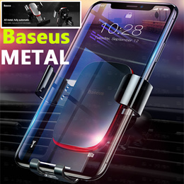 Baseus Metal Car Phone Holder for iPhone 8 X Samsung S9 Plus Mobile Phone Holder Air Vent Mount Clip