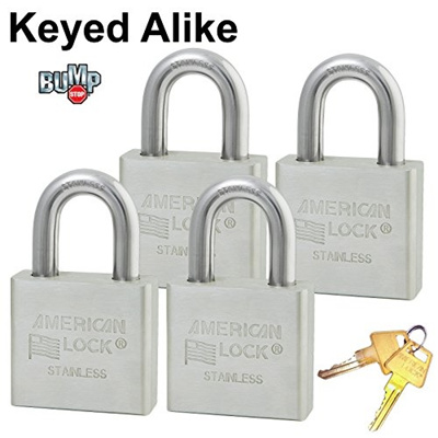 (Master Lock) Master/American Padlock - (4) High Security Locks Solid  Stainless Steel A6460NKA-4