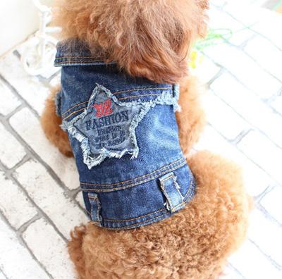 498b9ee13b cute star small dog pet cat denim jeans coat jacket cool dog puppy vest hoodie  clothing