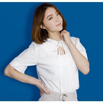 21. ribbon-tie blouse - ivory - free