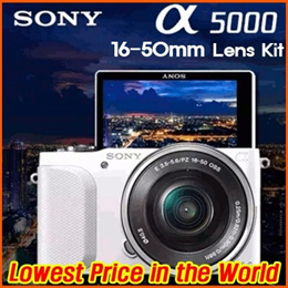 [Today Only] Sony Alpha A5000 20.1 MP Mirrorless Digital Camera With 16-50mm OSS Lens [White]