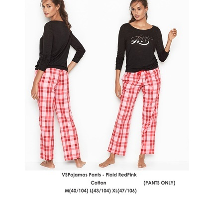 VSPajamas Pants Plaid PinkRed