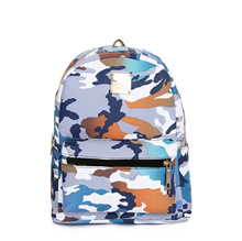 New Fashion Women Backpacks Kamuflase Cetak Khusus Travel Shoulder Schoolbags Blue
