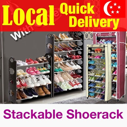 [Local Fast shipping]★Stackable Shoe Rack★ High Capacity/Dust cover shoerack/In singapore /shoe shel