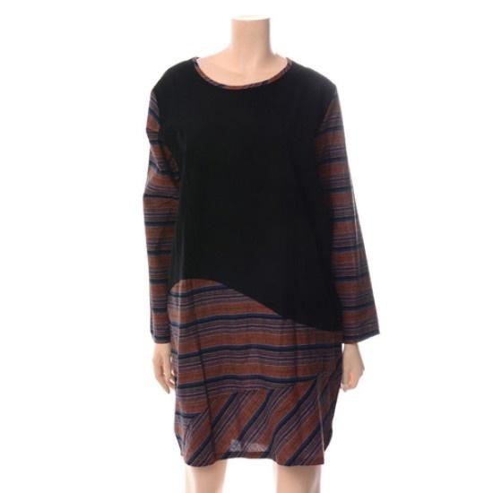 パパイヤパターン配色ルーズフィットワンピースCNGROP040C 面ワンピース/ 韓国ファッション