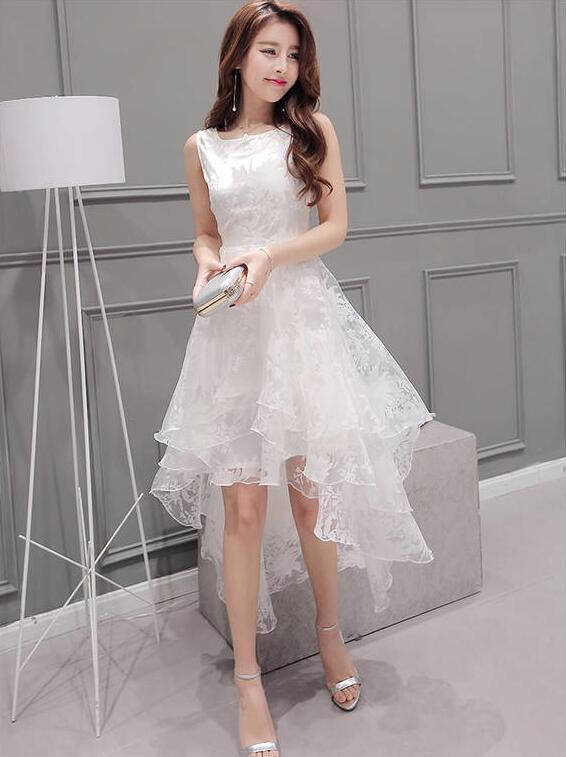 レディース ワンピース 花柄 ノスリーブ 透け感 アシンメトリー 韓国ファッション 結婚式 二次会 ホワイト