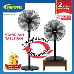 Powerpac Stand Fan with Convertible Height (PPFS212)