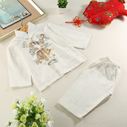 shop ActhInK Baby Boys Dragon Embroidery CottonampLinen Han Chinese Clothing Brand Kids Retro Chines