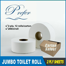 *Carton Sales*Prefer Jumbo Toilet Roll -2 ply- 12 rolls per carton
