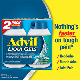 [ADVIL] 애드빌 Liquid Gels 200mg 240정 (120정*2)