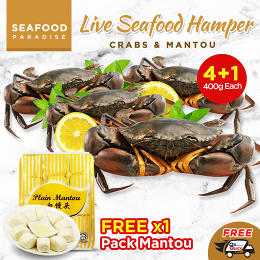 [S$36.60](▼59%)[Seafood Paradise]*BestSeller*🦀Live Crab (Buy 4 Free 1) 400g each 🦀 + Free Mantou 1 Pack [ FREE DELIVERY ] (9.9 Special Only)