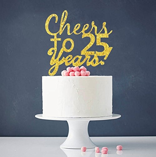 Actual Size Prev Next INNORUR Cheers To 25 Years Cake Topper