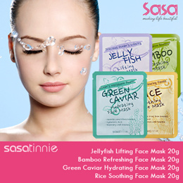 SASATINNIE ♥ FACE MASKS ♥ JELLYFISH LIFTING ♥ BAMBOO REFRESHING ♥ GREEN CAVIAR HYDRATING ♥ RICE