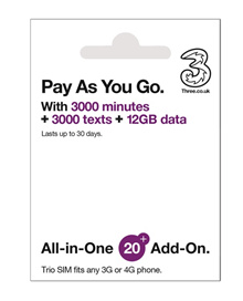 Prepaid Europe(UK 3) Travel SIM Card 12GB Data+3000mins for 30 days with FREE ROAMING IN 71Countries