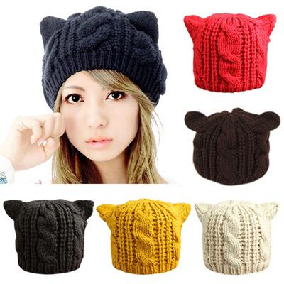 d88961da793 Lady Girls Winter Warm Beanie Hat Knitting Wool Cat Ear Ski Hat Cap Hat