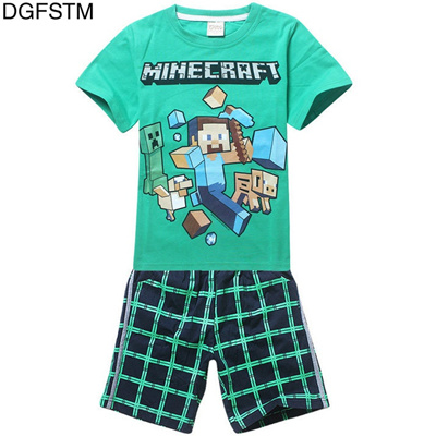 b28a37edec590 Minecraft Cartoon 2 Piece Boys Clothing Suits T-Shirts Tops Short Sleeve  Plaid 100% Cotton Minecraft