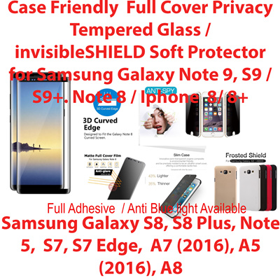 Case Friendly*Full Cover Tempered Glass/Case*Samsung Galaxy Note 9S9/S9+